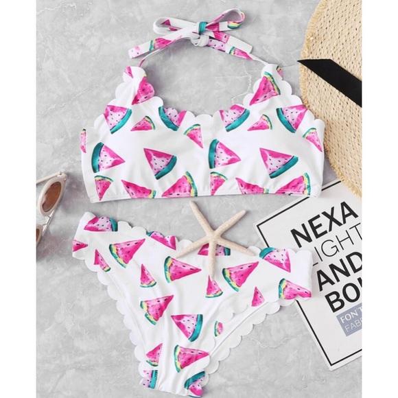 3fcfeef3a8a53 boutique Swim | New Suit Scalloped Watermelon Bikini Set | Poshmark